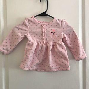 Cut Pink/Grey Polka Dot Pajama Shirt With Decal